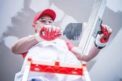 Het voorbereidingen treffen voor Drywall Flard stock fotografie