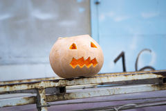 Het voorbereidingen treffen voor Halloween Pompoen op een omheining Royalty-vrije Stock Foto's