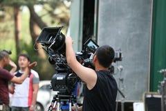 Het voorbereidingen treffen voor het ontspruiten van de film Stock Afbeelding