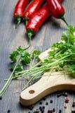 Het voorbereidingen treffen voor schotels gemaakt ââwith tot peterselie en Spaanse peper Stock Afbeelding
