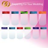 Het voorbereidingen treffen voor Uw Grafiek van de Dag van het Huwelijk Stock Fotografie