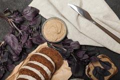 Het voorgerecht van de eendenleverpastei, ontbijt heerlijk stock afbeeldingen
