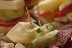 Het voorgerecht van de salami en van de kaas Stock Foto's