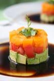 Het Voorgerecht van de tomaat en van de Avocado Royalty-vrije Stock Foto's