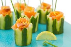 Het voorgerecht van de zalm en van de komkommer royalty-vrije stock foto's
