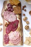 Het voorgerecht van diverse types van worsten, vlees, kazen en crackers op een houten raad, diende aan wijn royalty-vrije stock afbeelding