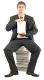 Het voorleggen van Leeg Wit Boek Stock Foto