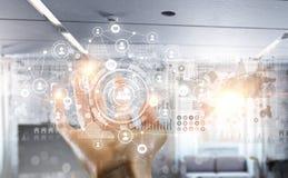 Het voorstellen van draadloze technologieën Gemengde media Gemengde media Stock Afbeelding