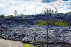 Het vooruitgaan van lava in stad Stock Fotografie