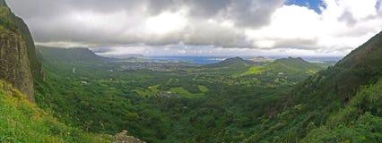 Het vooruitzicht Kaneohe Panoramisch Hawaï van Pali Stock Afbeeldingen