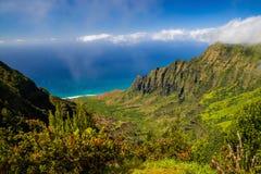 Het vooruitzicht van de Kalalauvallei, napalikust, Kauai, Hawaï Stock Afbeeldingen