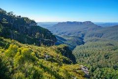 Het vooruitzicht van de klippenmening, blauw bergen nationaal park, Australië 3 royalty-vrije stock foto's