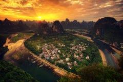 Het Vooruitzicht van Guilinxingpingzhen stock afbeeldingen