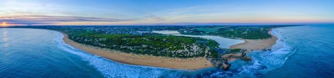 Het vooruitzicht van puntritchie en de riviermonding van Hopkins bij zonsondergang stock fotografie