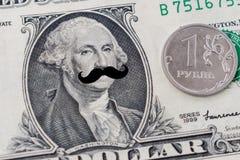 Het voorzitters` s gezicht met een dollarrekening met hipstersnor Stock Afbeeldingen