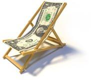 Het vouwen deckchair met één dollar stock afbeeldingen