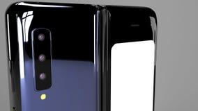 Het vouwen van 3d Telefoon van achtergrond, geeft terug stock foto's