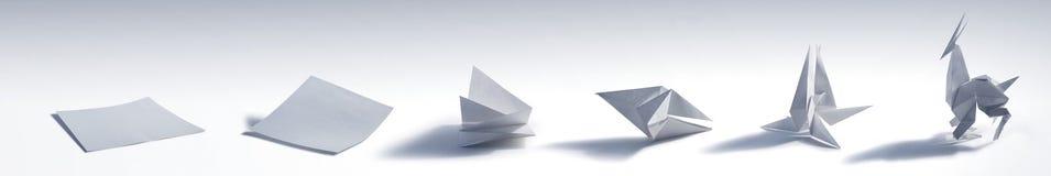 Het vouwen van een Origamidier Stock Afbeeldingen