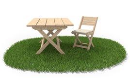 Het vouwen van lijst en stoel op groen gras vector illustratie
