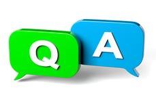 Het Vraag en antwoordconcept van de bellentoespraak Stock Fotografie