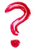 Het vraag-teken vormde rode vloeibare lippen polijst stock afbeelding