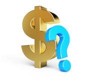 Het vraagteken van de dollar Stock Foto