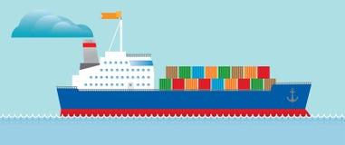 Het vrachtschip van de tanker met containers Royalty-vrije Stock Foto's