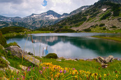 Het Vreedzame Meer van de berg stock afbeeldingen