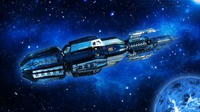 Het vreemde moederschip, het ruimteschip in diepe ruimte, het UFOruimtevaartuig in het Heelal met planeet vliegen en de sterren,  stock illustratie