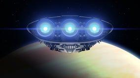 Het vreemde ruimteschip nadert Venus Heldere motoren die, 3d animatie opvlammen De textuur van de planeet werd gecreeerd in