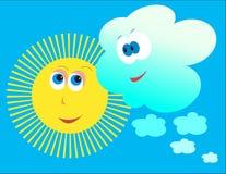 Het vriendelijke cloudletsluiten en de zon. Stock Foto