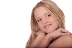 Het vriendschappelijke jonge wijfje van het portret in studio Stock Foto