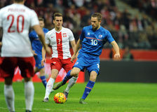 Het Vriendschappelijke Spel van Polen - van IJsland Stock Fotografie