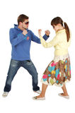 Het vriendschappelijke Vechten tussen een kerel en een meisje Royalty-vrije Stock Afbeelding