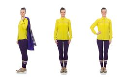 Het vrij Kaukasische model in purper die vest op wit wordt ge?soleerd stock foto's