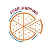 Het vrije die verschepen van pizza op witte achtergrond wordt geïsoleerd Stock Afbeeldingen