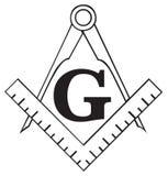 Het vrijmetselaars- symbool van het Vierkant en van het Kompas, freemason Royalty-vrije Stock Foto's