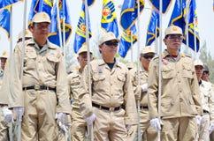 Het Vrijwilligers de mensen van de Ramp van Thailand marcheren. Royalty-vrije Stock Foto