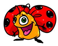 Het vrolijke beeldverhaal van het lieveheersbeestjeinsect Stock Foto