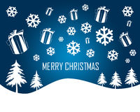 Het vrolijke Blauw van Kerstmis Stock Foto