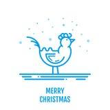 Het vrolijke concept van het Kerstmispictogram met haan in overzichtsstijl Royalty-vrije Stock Afbeeldingen