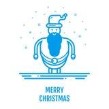 Het vrolijke concept van het Kerstmispictogram met Santa Claus in overzichtsstijl Stock Afbeelding