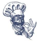 Het vrolijke Cook vectormalplaatje van het embleemontwerp keuken of Stock Foto's