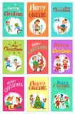 Het vrolijke de Activiteitenjonge geitjes van de Kerstmiswintertijd Spelen vector illustratie