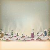 Het vrolijke dorp van de Kerstmis retro prentbriefkaar Eps 10 Stock Afbeeldingen