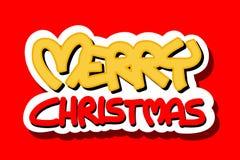 Het vrolijke embleem van Kerstmis op rode achtergrond Royalty-vrije Stock Foto