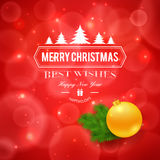 Het vrolijke embleem van Kerstmisgroeten op rode achtergrond Stock Afbeeldingen