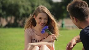 Het vrolijke en charmante meisje zit op een gazon en geratel met haar vriend in slo-mo stock video
