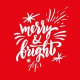Het vrolijke en heldere uitdrukking met de hand geschreven van letters voorzien geïsoleerd op rode achtergrond royalty-vrije illustratie