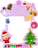 Het vrolijke Frame van Kerstmis [Meisje] Stock Foto